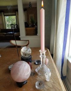 Caspari petal pink candle